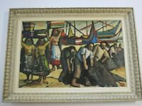 FINEST AUGUSTO TORRES LARGE PAINTING MARINA PORT MODERNIST EXPRESSIONISM 1950'S