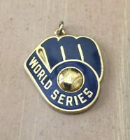 VINTAGE 1982 MLB MILWAUKEE BREWERS WORLD SERIES BASEBALL PRESS PIN CHARM