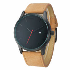 Men's Fashion Sport Stainless Steel Case Leather Band Quartz Analog Wrist Watch