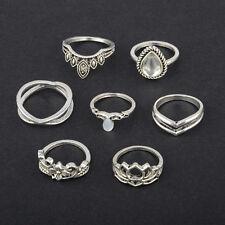 7pcs Vintage Boho Big Gemstone Carved Finger Knuckle Ring Band Pearl Midi Rings