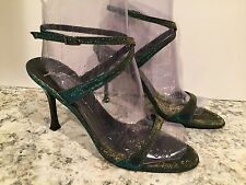 Giuseppe Zanotti Design Sandals Heels Unique Iridescent Blue Gold 40/9.5 Nice!!!