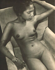 Vintage Lionel Wendt Asian Female Resting Nude Model Photogravure Photo Print