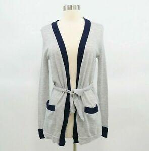 J.CREW Cardigan Sweater Everyday Cashmere Womens XXS Color Block Long Gray Blue