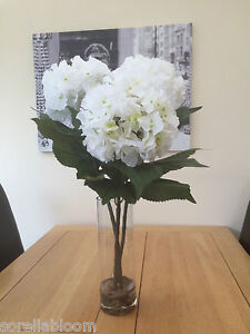 GORGEOUS LARGE ARTIFICIAL FLOWER ARRANGEMENT WHITE HYDRANGEA IN VASE WITH WATER