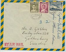 62324  - SIAM THAILAND - POSTAL HISTORY:  AIRMAIL COVER to SWEDEN 1957