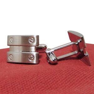 Geoffrey Beene Men's Flat Screws Mixed Metals Cufflinks Silver Color