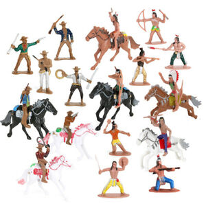 77Pcs Wild West Cowboys and Indians Plastic Figures Playset,Educational Toys