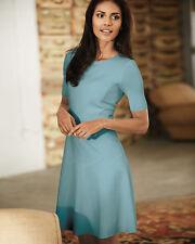 Elie Tahari Womens Maria Dress 12 Large Blue Fit Flare Short Sleeve Solid Zipper
