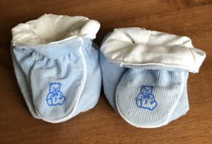 Padders Baby Booties Blue and White With Teddy Design Size 0-6 Months