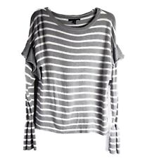 Olivia Sky Womens Knit Top Long Sleeve Casual Grey White Stripes Ruffle Size M