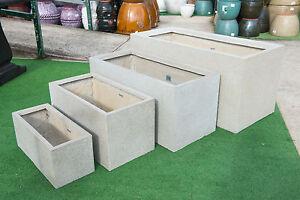 Outdoor Garden Patio Planter Pot Rectangle Fibreglass Large Trough Mason Stone