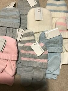 Baby Spanish Knitted Hat Scarf & Mittons Blue Pink Grey Newborn 6 Mth Boys Girls