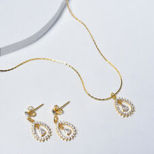Jewelry Set, Drop Necklace and Earrings in 14k Yellow Gold with Cubic Zirconia