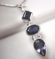 Faceted Iolite Triple-Gem 925 Sterling Silver Necklace Corona Sun Jewelry