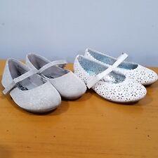 2 Pairs Toddler Girl Sz 5 Dress Shoes White Silver Flats Disney Frozen SmartFit
