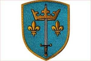 Blason écusson patch de Jeanne d'Arc brodé en France, Pucelle d'orléans