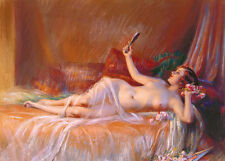 """Canvas Print Oil Painting Picture Nude Lady in the mirror on canvas 16""""x24"""" L450"""