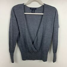 Banana Republic womens sweater sz XS merino wool Italian gray v-neck pullover