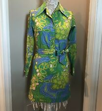 Lanvin Sz 10 Vintage 1960s Blue Green Belted Shirtdress Dress Abstract Geometric