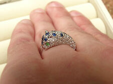 Sapphire/Tsavorite/Zircon Panther/Leopard/Cheetah Silver Ring Size R-S/9 RRP£178