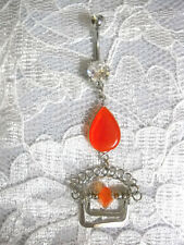 BRIGHT ORANGE CATS EYE DROPLET ART DECO BOLLYWOOD DBL CLEAR CZ BELLY BUTTON RING
