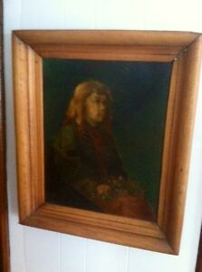 Early American oil painting Portrait Of A girl In Early Pine Frame
