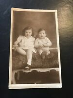 Vintage Postcard Real Photograph Portrait Of Young Children.