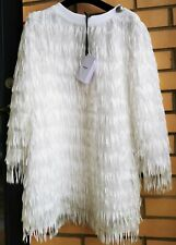 Balmain NEW with Tags KIDS 10 YRS White Sequin Fringe Dress