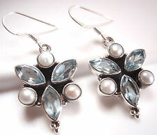 Faceted Blue Topaz and Cultured Pearl 925 Sterling Silver Dangle Earrings