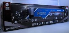GREENLIGHT COLLECTIBLES DIECAST 1:64 SCALE BLACK AND BLUE INDYCAR TRANSPORTER