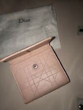 Christian Dior Cannage Pink Leather Purse Monogram Rose SLG Soft Lambskin Wallet