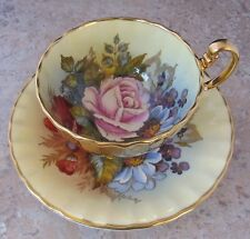 F.A.Bailey Pink Rose Floral Aynsley Cup & Saucer Bone China England Excellent!