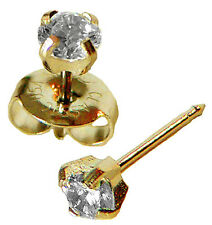 4mm Clear Round Cubic Zirconia CZ Gold  Ear Piercing Earrings Studex System 75