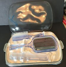 Vintage Jewelite Hair Brush  mirror & Comb Set Clear Blue Unused In Original Box