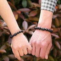 Unisex Kristall Obsidian Drachen Phoenix Schwarz Stein Bead Armband Geschenke