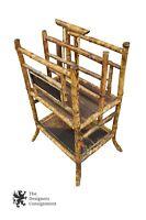 Antique Asian English Tortoise Bamboo Magazine Rack Handle Canterbury Stand
