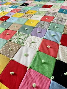 60s QUEEN Quilted Bedspread Patchwork Quilt Squares Vintage Hippie Groovy Tie