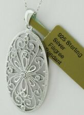 GENUINE DIAMONDs FILIGREE NECKLACE .925 Sterling Silver * New with Tag *
