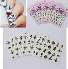 5Sheets Nail Art Water Transfer Decals Sticker Set Compass Anchor Wheel Design