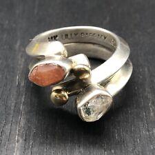 Lilly Barrack Sterling Silver & 14K Gold / Carnelian & Herkimer Diamond Ring