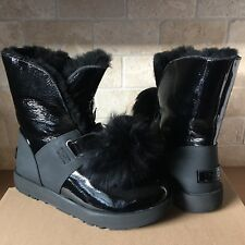 UGG ISLEY PATENT LEATHER BLACK WATERPROOF POM POM SHORT BOOTS SIZE US 10 WOMENS