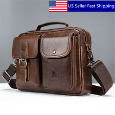 US Men Genuine Leather Business Briefcase Crossbody Shoulder Bag Trave