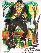 Solomon Grundy Color Marker Drawing - Signed art by Irwin Hasen