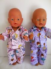 "BABY BORN 17""  DOLLS CLOTHES PINK OR PURPLE BALLERINA  FLANNELETTE PJ'S"