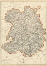 SHROPSHIRE Large county map. Railways Wenlock Edge Stiperstones.WELLER 1863
