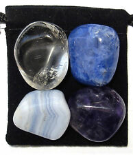 AUTISM SUPPORT Tumbled Crystal Healing Set = 4 Stones + Pouch + Description