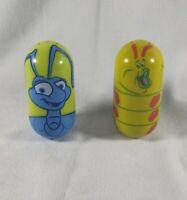Disney Kelloggs Lot Beanz Weeble Wobble Flik #19 and Heimlich #24 A Bugs Life
