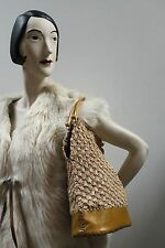 Tasche Umhängetasche Shopper Patchwork Bast Hippy  bag 60er True VINTAGE 60´s