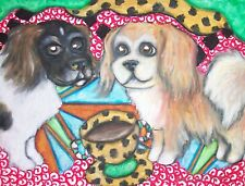 Tibetan Spaniel Drinking Coffee Dog Collectible 8 x 10 Art Print Signed by Ksams