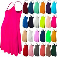 New Womens Maternity Sleeveless Camisole Floaty Strappy Skater Long Swing Dress